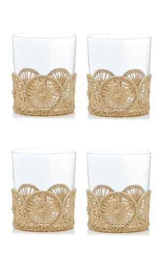 Set Of 4 Straw Glass Holder