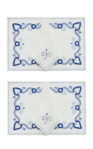 Set Of 2 Floral Placemat And Napkin Set