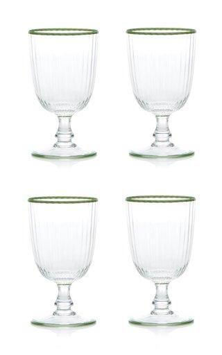 Set Of 4 Murano Border Wine Glass