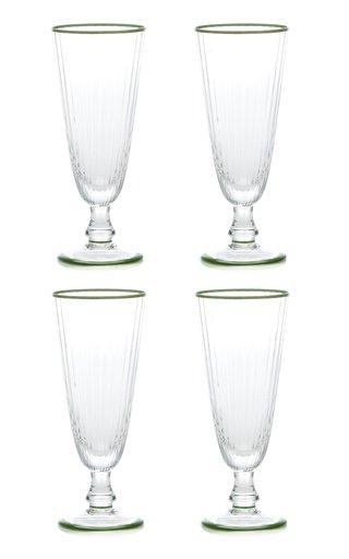 Set Of 4 Murano Border Champagne Flute