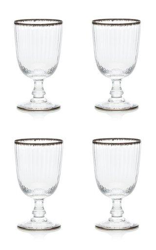 Set Of 4 Murano Flame Wine Glass