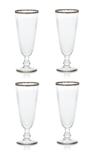 Set Of 4 Murano Flame Champagne Flute
