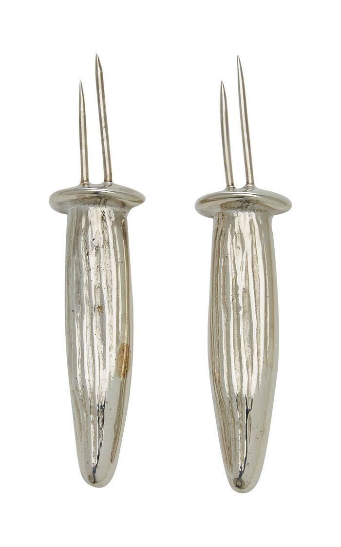 Sterling Silver And 24K Gold Corn Holders