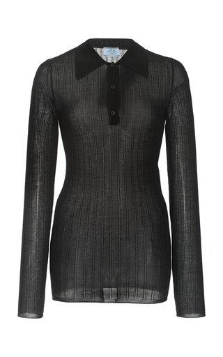 Ribbed Cashmere-Silk Polo Top