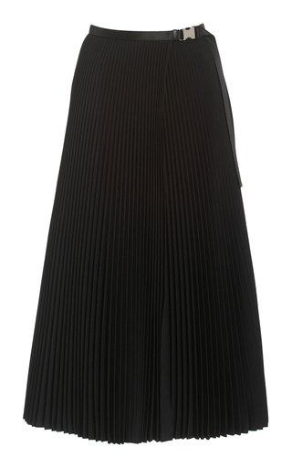 Buckled-Detailed Twill Plissé Midi Skirt