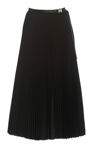 Buckled-Detailed Twill Plissé Midi Skirt