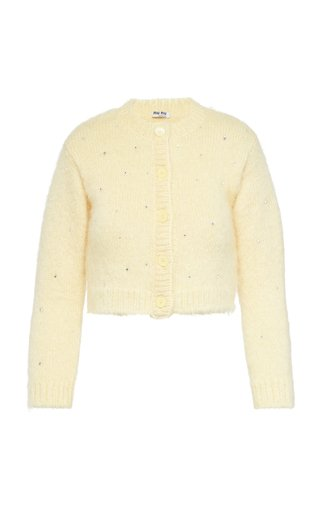 Diamante Embroidered Mohair-Blend Cardigan