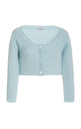 Diamante Embroidered Mohair-Knit Cropped Cardigan