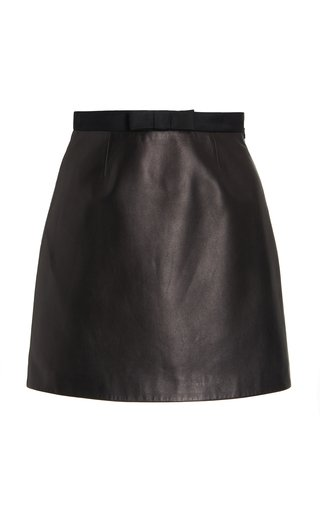 Bow-Accented Nappa Leather Mini Skirt