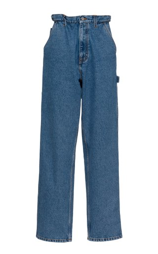 Iconic Rigid High-Rise Straight-Leg Blue Jeans