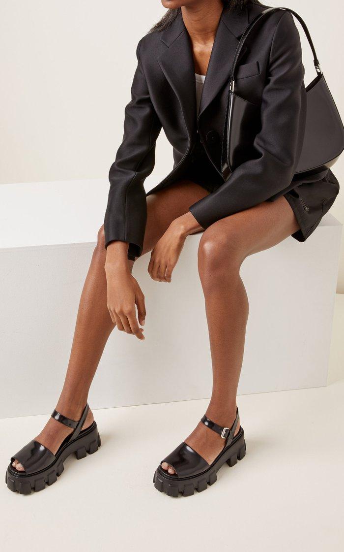 Leather Platform Lug-Sole Sandals