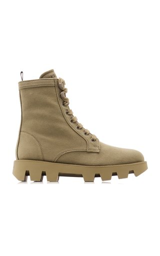 Washed Denim Lug-Sole Boots