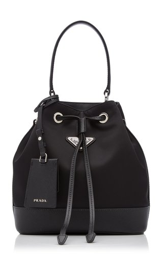 Leather-Trimmed Nylon Bucket Bag