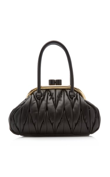 Matelassé Top Handle Leather Handbag