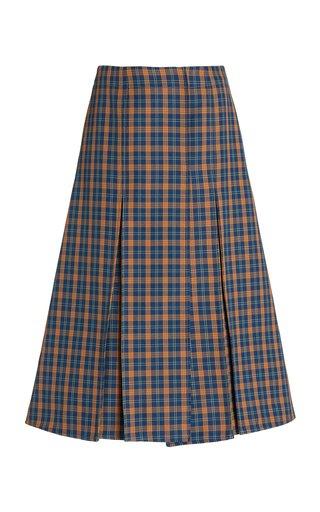 Hanover Pleated Checked Drill Midi Skirt