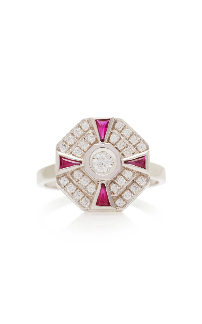 Paris 18K White Gold, Diamond And Ruby Ring