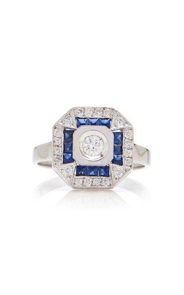 Paris 14K White Gold, Diamond And Sapphire Ring