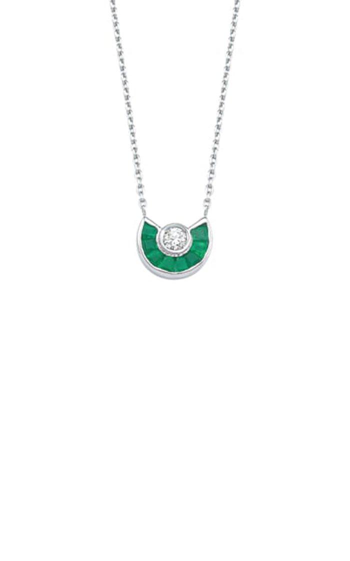 Paris 18K White Gold Emerald and Diamond Necklace