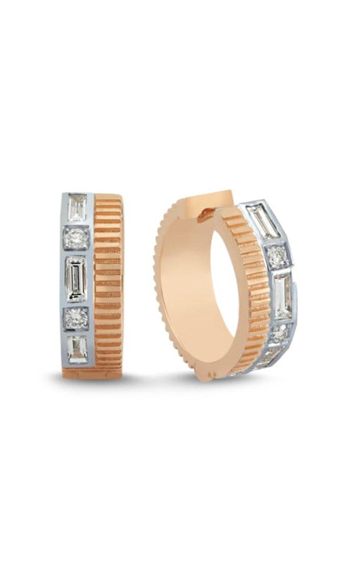 La Linea 14k Rose Gold Diamond Hoop Earrings