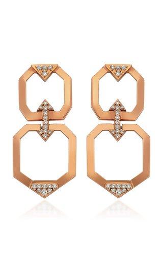 Luna Double 14K Rose Gold Diamond Earrings