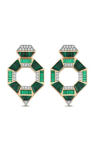 Deep Sea 14K Rose Gold Tsavorite, Malachite and Diamond Earrings