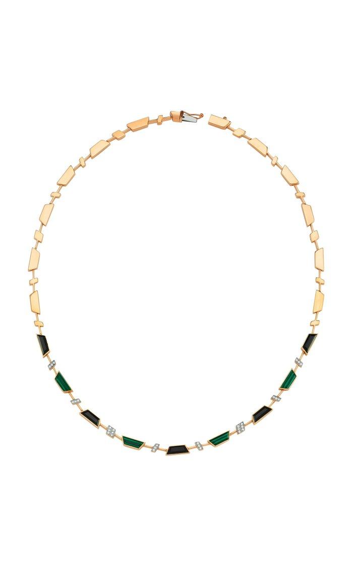 Deep Sea 14K Rose Gold Malachite, Onyx and Diamond Necklace