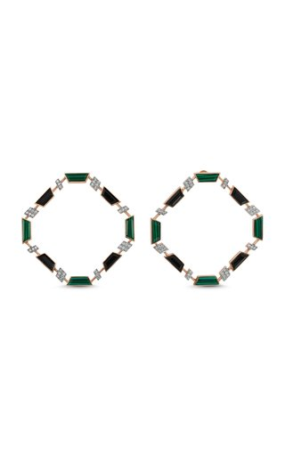 Deep Sea 14K Rose Gold Malachite, Onyx and Diamond Earrings