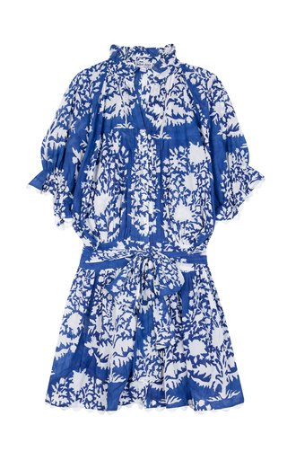 Scallop-Trimmed Palladio-Print Cotton Mini Shirt Dress