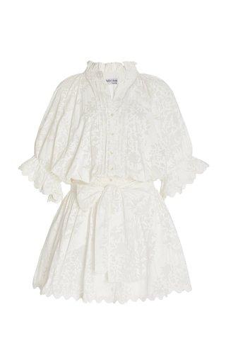 Scallop-Trimmed Palladio-Print Cotton Mini Shirt Dress