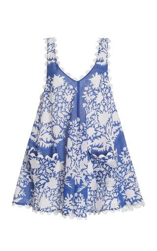 Scallop-Trimmed Palladio-Print Cotton Mini Dress