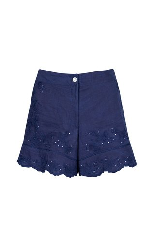 Embroidered Washed Cotton High-Rise Shorts