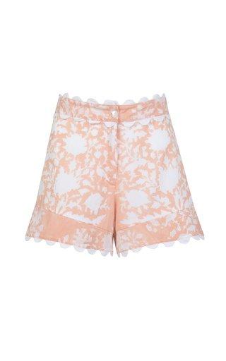 Scallop-Trimmed Palladio-Print Cotton High-Rise Shorts