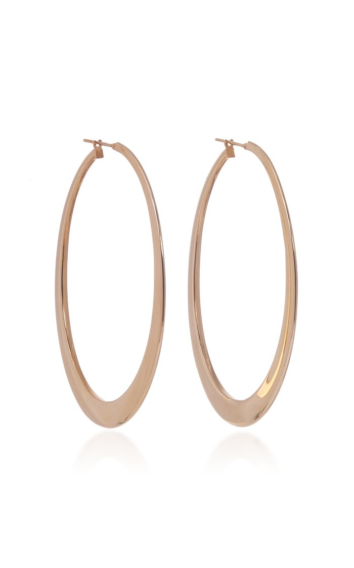 Crescent 18K Yellow Gold Hoop Earrings