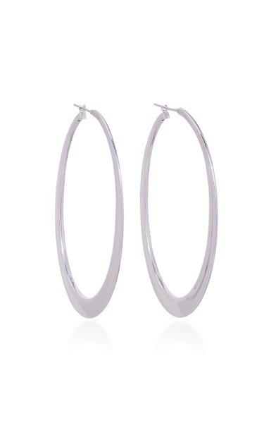 Crescent 18K White Gold Hoop Earrings