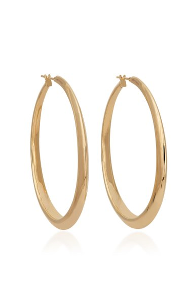 Oval 18K Yellow Gold Hoop Earrings