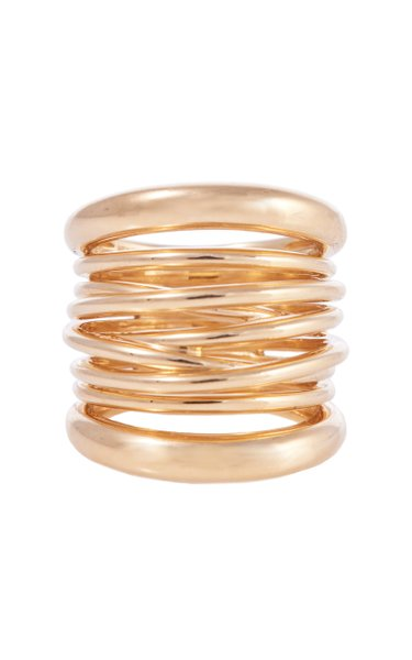 Tall Scribble 18K Yellow Gold Ring