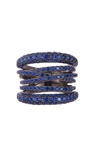 Scribble 18K White Gold Sapphire Ring