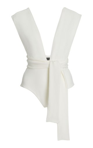Belted Crepe One-Piece Swimsuit