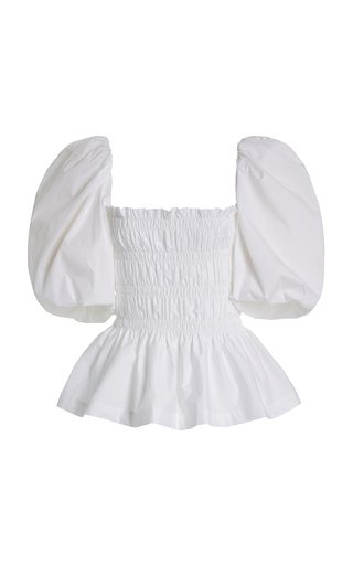 Exclusive Artistic Senses Smocked Stretch-Cotton Top