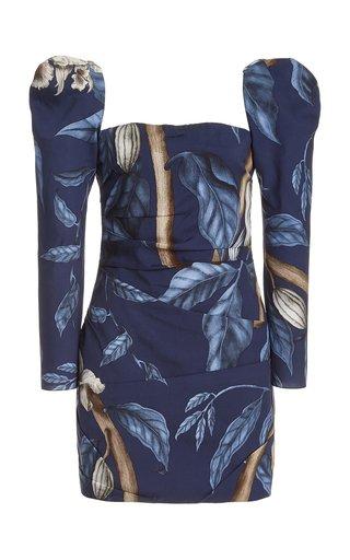 Exclusive Gathering Nature Printed Crepe Mini Dress
