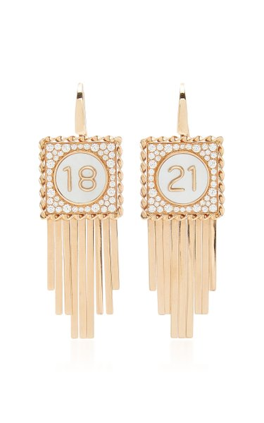 Pure Numbers 18K Rose Gold Mother-Of-Pearl, Diamond Earrings