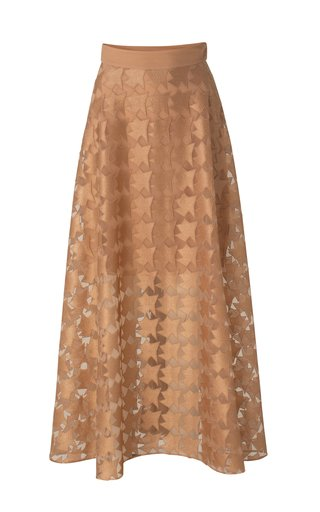 Embroidered Tulle Maxi Skirt