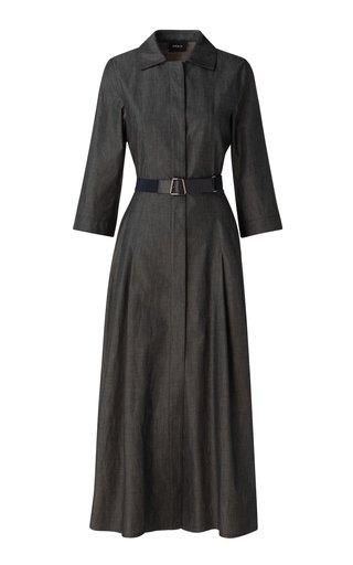 Belted Cotton Chambray Midi Shirt Dress