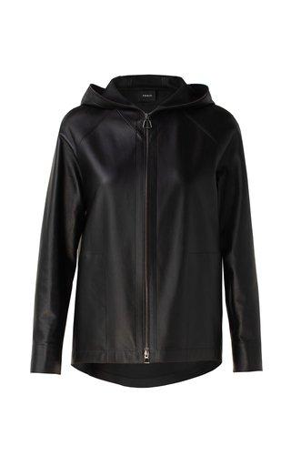 Manon Hooded Leather Blouson Jacket