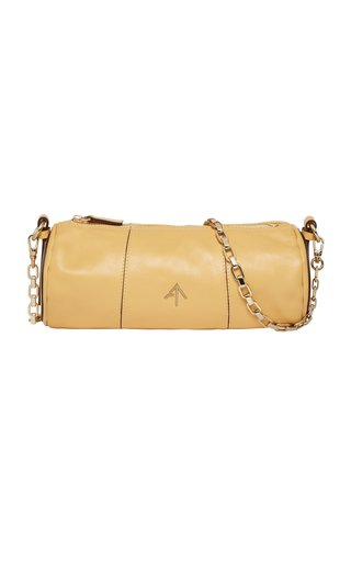 Cylinder Leather Chain-Link Bag