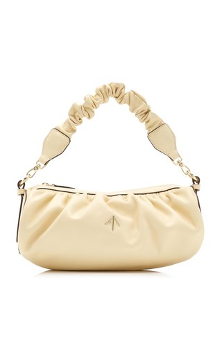 Cylinder Ruched Leather Shoulder Bag