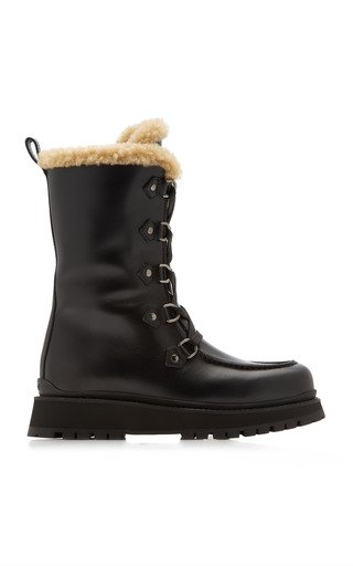 Shearling-Lined Leather Winter Boots