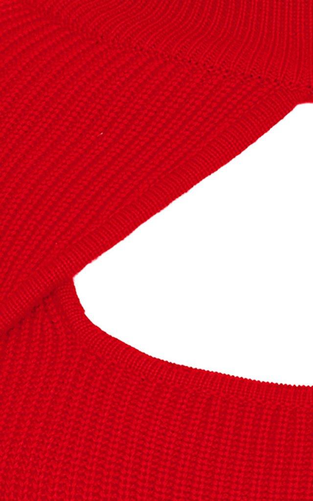 Sabrine Cutout Layered Ribbed-Knit Wool Top