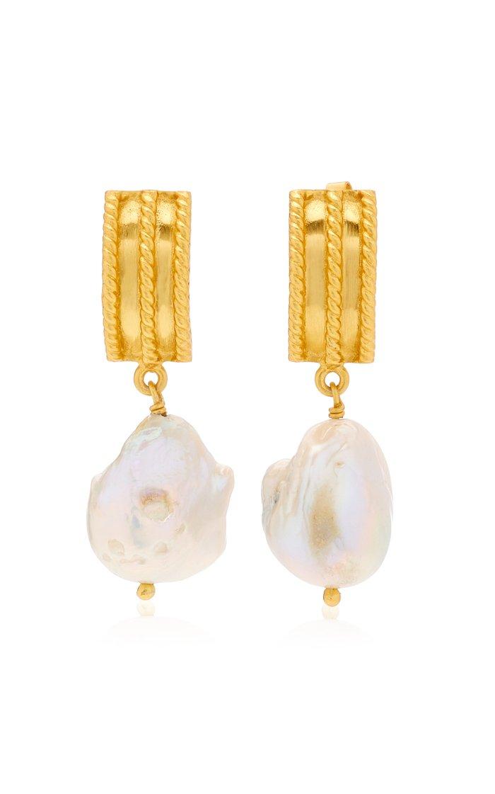 Chloe 24K Gold-Plated Pearl Earrings