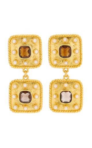 Aurora 24K Gold-Plated Smoky Quartz Earrings